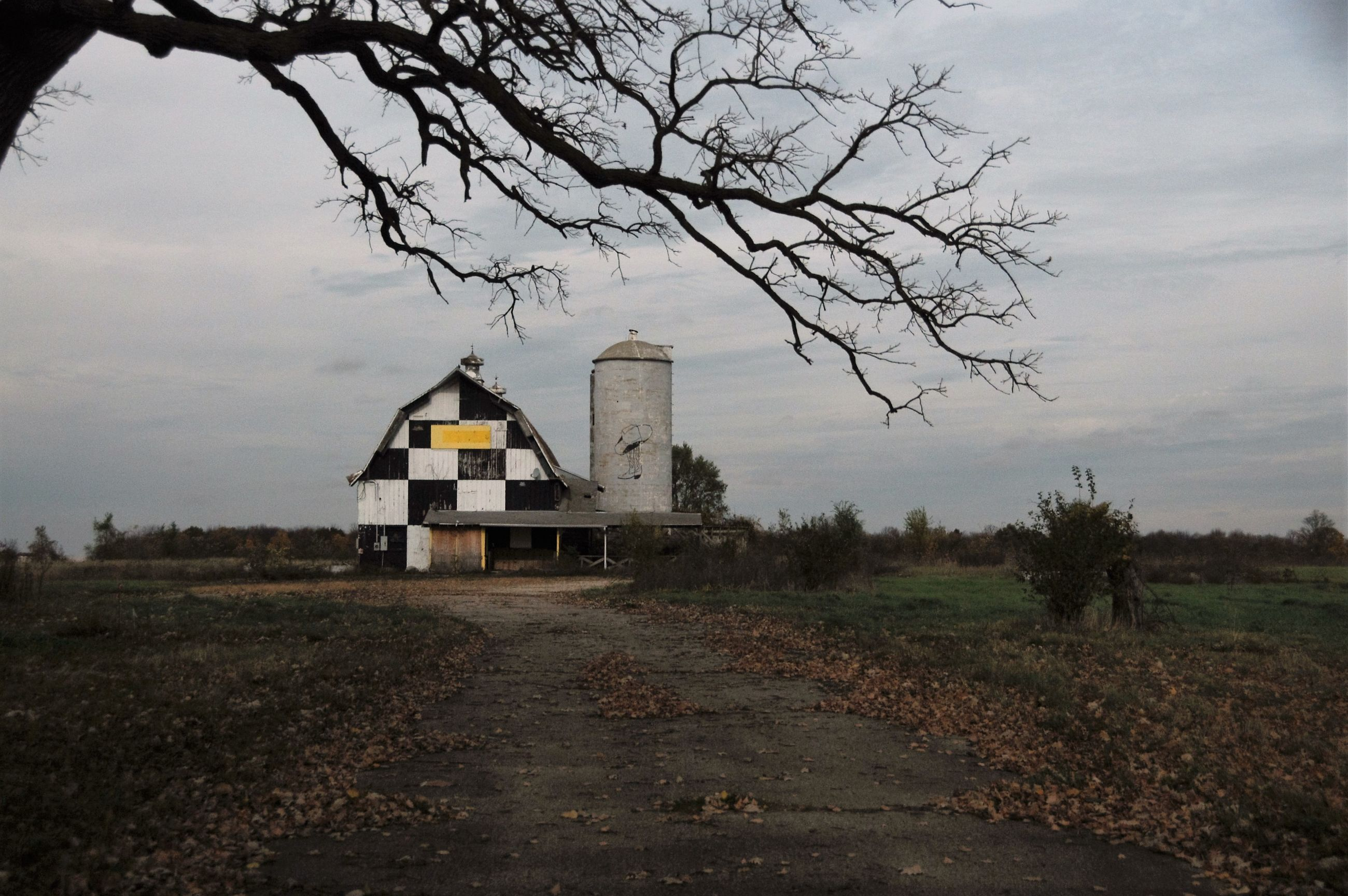 tree, sky, house, building exterior, landscape, built structure, no people, bare tree, cloud - sky, agriculture, nature, scenics, architecture, outdoors, beauty in nature, day