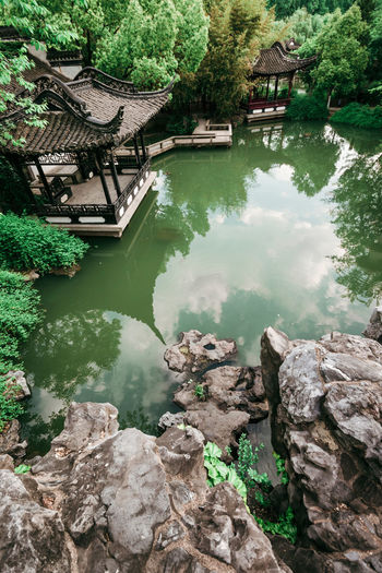 Fuzhuang Garden, Hefei, China Architecture Built Structure Chinese Classic Culture Garden Green Color Pavilion Pond Ponds Reflection Rockery Spring Tranquil Scene Tranquility Tree