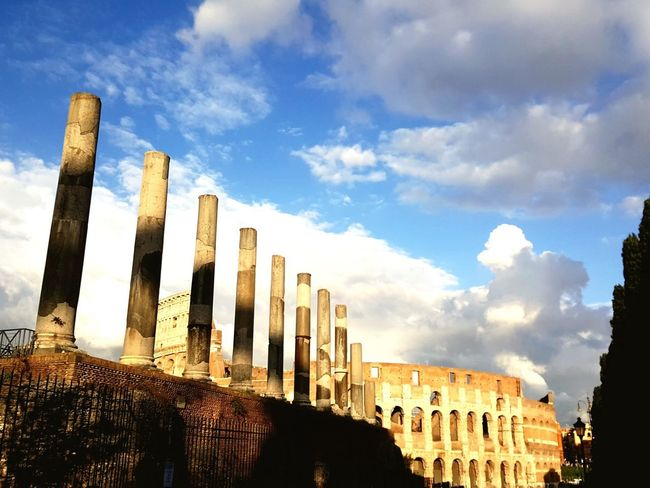History Architecture The Past Sky Built Structure Cloud - Sky Moving Around Rome Architectural Column Ancient Civilization Day Outdoors Low Angle View Travel Destinations Sunlight Building Exterior Ancient No People
