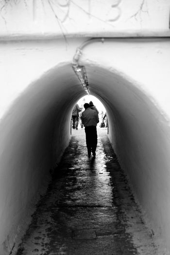 tunnel to the other side Bridge Cold Monochrome Old Person Tunnel Walking Wiinter