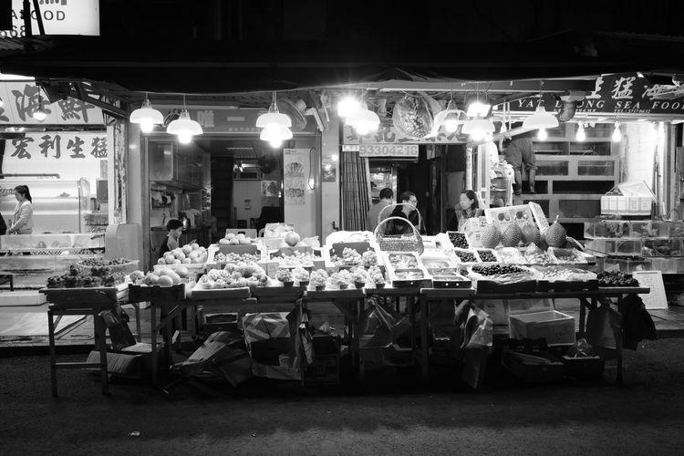 Blackandwhite Food Fruit Stall Illuminated Night Night Market People Store Street Photography