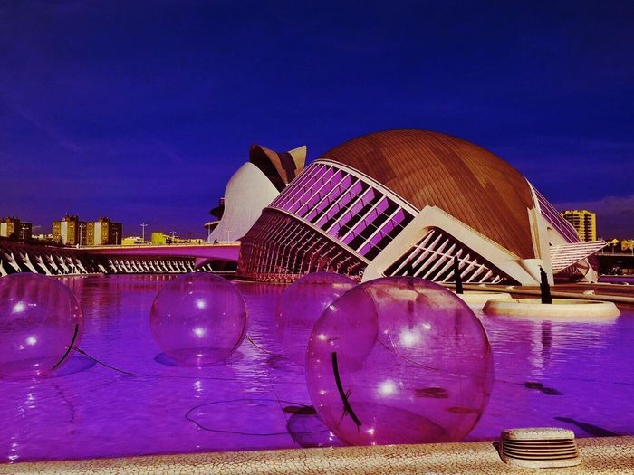Millennial Pink Architecture City Building Exterior Cityscape Travel Destinations Reflection Illuminated Travel Built Structure Archival Futuristic Sky Purple City Life Modern Skyscraper Water No People Outdoors