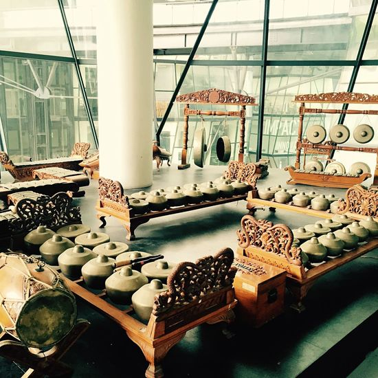 Gamelan is the music of Indonesia. Gamelan orchestras are usually percussion oriented, but some varieties may feature flutes, bowed and plucked strings or vocalists in a prominent role.