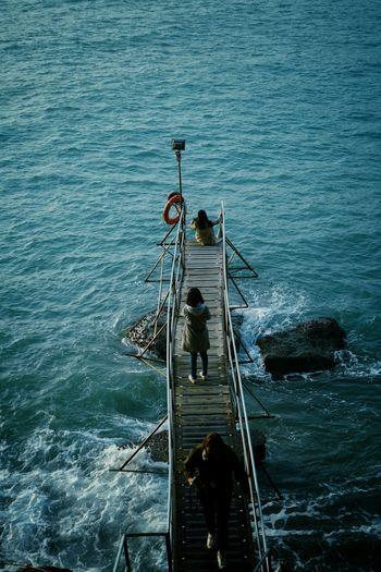 High angle view of man on sea