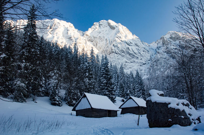 Giewont Tatra Mountains Architecture Beauty In Nature Built Structure Cold Temperature Cottage Covering Environment Land Mountain Nature No People Outdoors Plant Scenics - Nature Sky Snow Snowcapped Mountain Tranquil Scene Tranquility Tree White Color Winter The Great Outdoors - 2018 EyeEm Awards