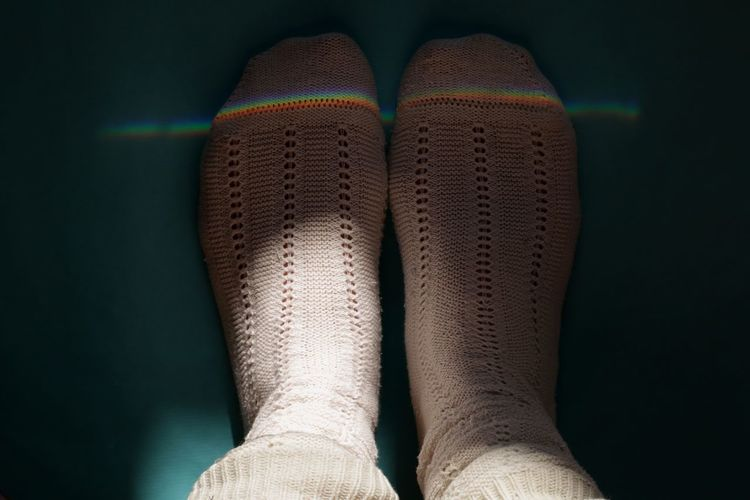 Wool Socks Socks White Socks Refraction Multi Colored Light And Shadow Low Section Sock Human Leg Human Foot Close-up Colorful Capture Tomorrow