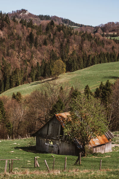 An old wooden barn in an idyllic landscape with hills in the Pieniny mountains in Poland. Cottage Field Idyllic Landscape Mountain Nature Old Pieniny Poland Remote Rural Scene Scenics Tranquility Weathered Barn Old Barn Ruined Left Behind