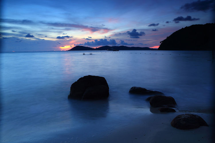 Beach Beauty In Nature Cloud - Sky Dusk Idyllic Land Nature No People Non-urban Scene Outdoors Rock Rock - Object Scenics - Nature Sea Sky Solid Sunset Tranquil Scene Tranquility Water