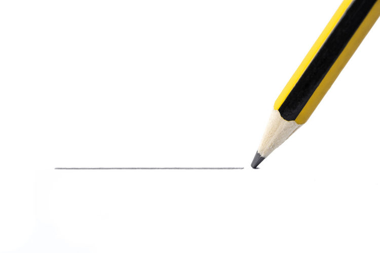 Pencil drawing a straight line, isolated on white background Horizontal Isolated LINE Straight Text Write Backgrounds Black Blank Close-up Concept Copy Space Draw Drawing Emphasize Highlight Idea Label Pencil Single Sketching Underline Underlining White Background Yellow