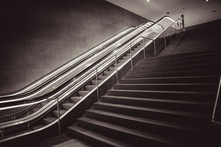 Absence Black And White Escalator Light And Shadow Modern No People Railing Staircase Stairs Steps Steps And Staircases Subway Technology The Way Forward Tiled Floor Wall Q For Queue Fresh On Eyeem