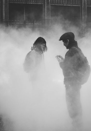 F U J I K O N A K A Y A - Fog installation at the Tate Modern in London Day Firefighter Fog Fog Sculpture Foggy Foggy Morning Men Outdoors People People Fog Foggy Fest Real People Silhouette Silhouettes Smoke - Physical Structure Standing Two People The Street Photographer - 2017 EyeEm Awards