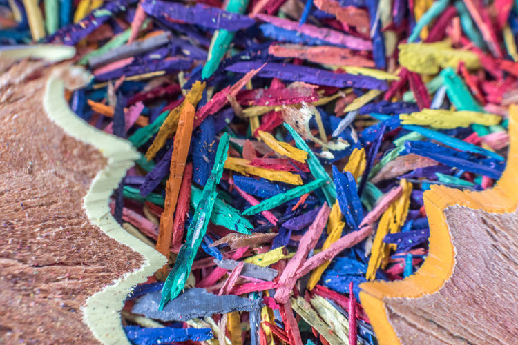 Close-Up Of Colorful Pencil Shavings