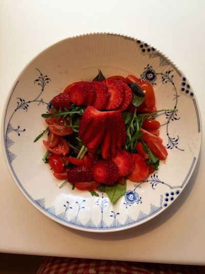 Directly above shot of strawberry salad in plate