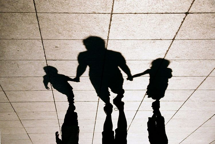 Silhouette Sun Sunset Mysthical Lines Family Together Lonely Kids Mother Father Holding Hands Enjoying Life Walking Church