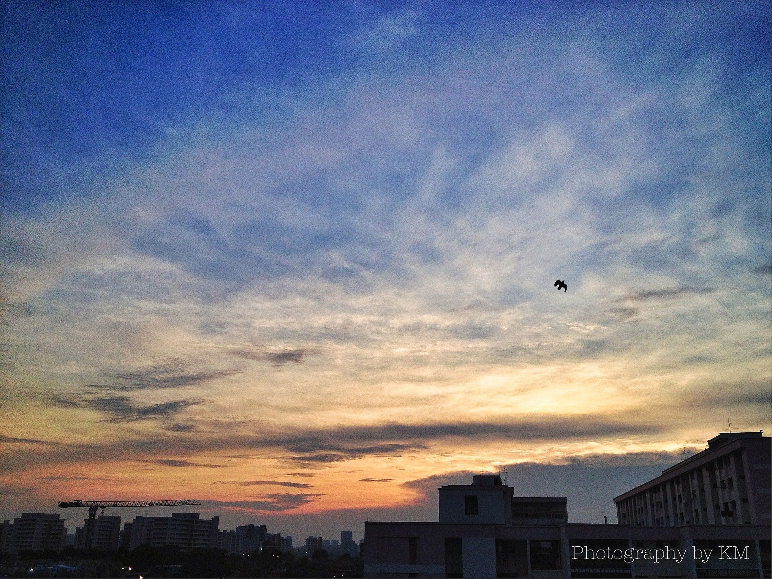 building exterior, architecture, built structure, sky, low angle view, sunset, city, cloud - sky, residential building, building, residential structure, silhouette, dusk, house, cloud, high section, outdoors, no people, residential district, cloudy