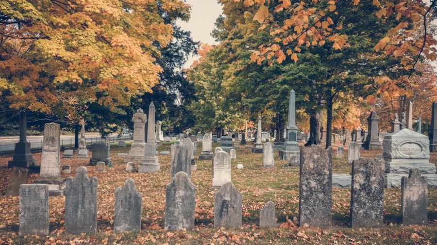 Tombstones At Cemetery During Autumn