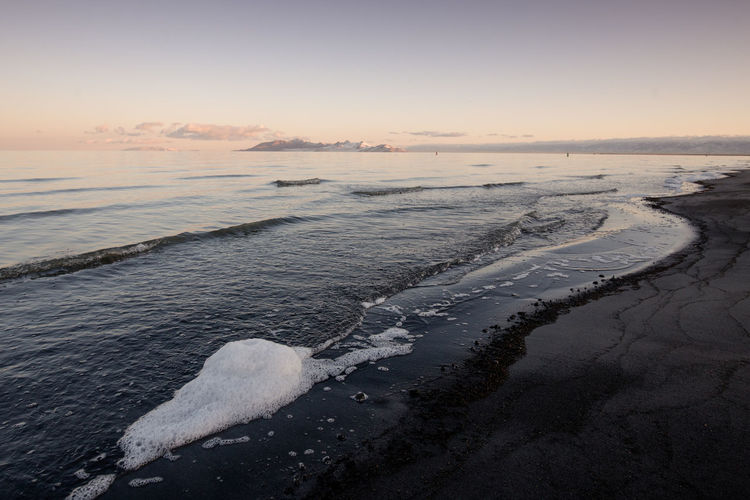 Great salt lake during sunset