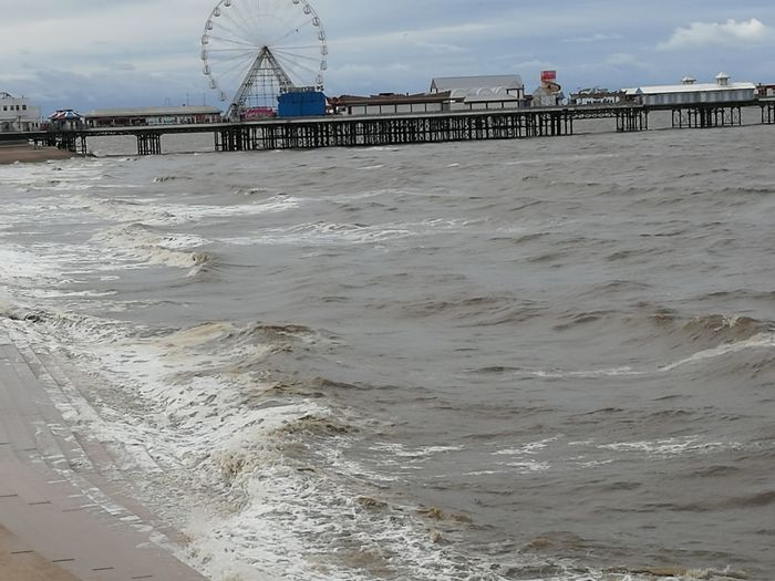 Beach Sea Water Tide Built Structure Outdoors Blackpool Promenade Blackpool Big Wheel Day