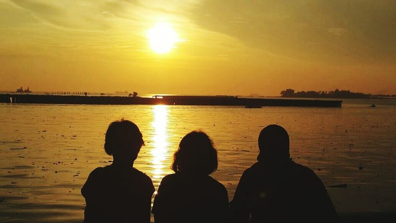 Sunset Silhouette Relaxing Losari Beach