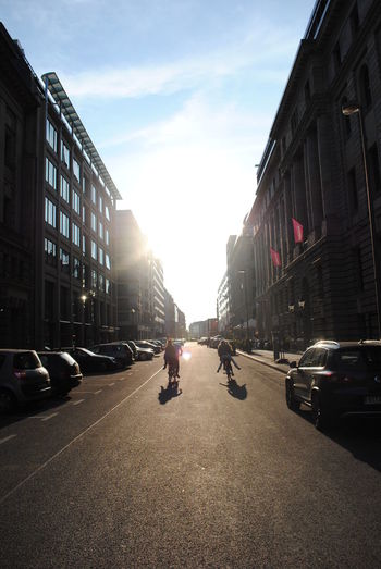 Road passing through city street