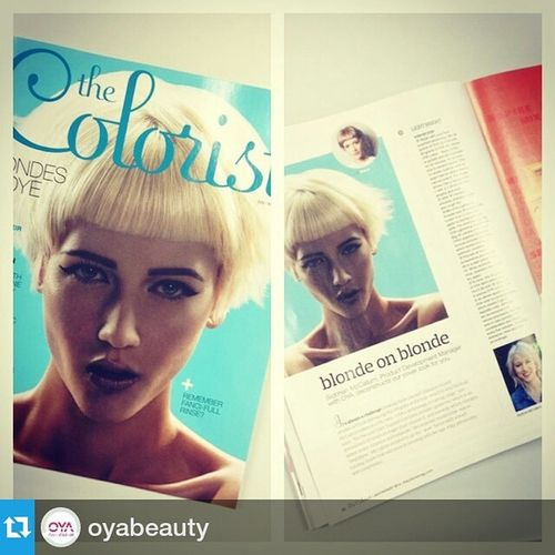 """Repost from @oyabeauty with @repostapp — Oya is on the cover of the current issue of the Colorist ! Check out our article """"blonde on blonde"""" Oyacolor oyabeauty oyablonde"""