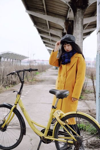 Looking At Camera Portrait Abandoned Places Abandoned Bicycle One Person Transportation Young Adult Architecture Leisure Activity Activity Lifestyles Mode Of Transportation Winter City
