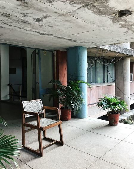 Chandigarh Weathered Architectural Column Architecture Blue Colour Brutalism Building Building Exterior Built Structure Chair Concrete Day Design Flooring Growth Houseplant Midcentury Modern No People Outdoors Pastel Pastel Colored Pink Color Plant Potted Plant Seat