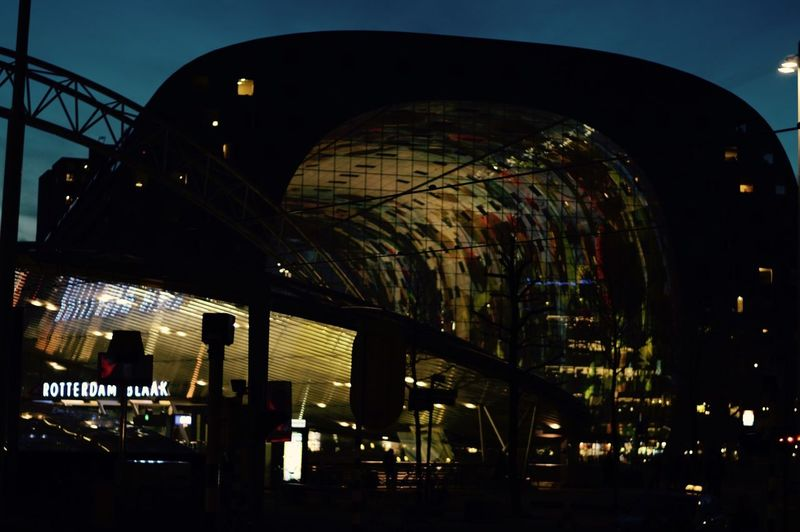 Markthal Urbanzoo Adventures In The City Silhouette Architecture Built Structure Night Illuminated City Travel Destinations Sky Indoors  No People Building Exterior