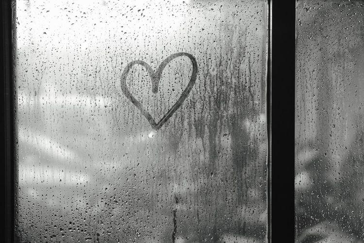 love Wet Heart Shape Glass - Material Positive Emotion Love Drop Window Emotion Rain No People Transparent Creativity RainDrop Water Indoors