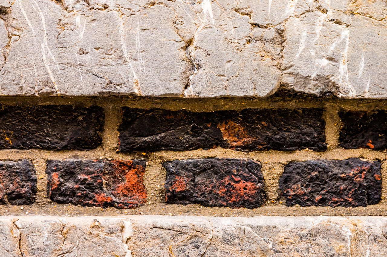 architecture, wall - building feature, wall, no people, brick wall, stone material, built structure, brick, solid, close-up, building exterior, day, construction industry, outdoors, backgrounds, full frame, pattern, old, industry, nature, concrete, stone wall