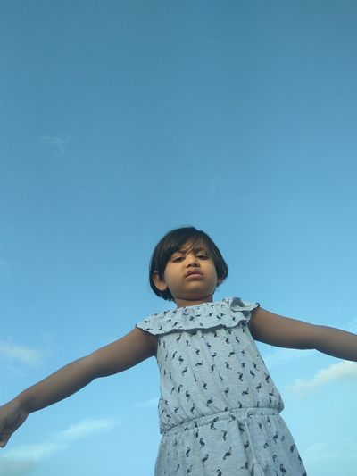 Childhood One Person Children Only Girls Happiness Sky Clear Sky Standing Outdoors Mix Yourself A Good Time