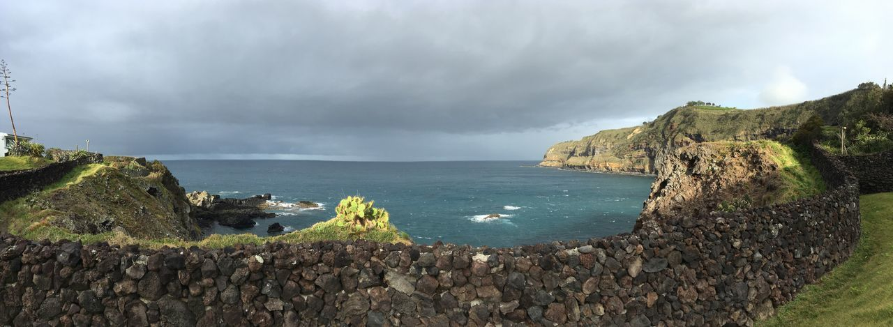 The breakfast view from the hotel Panoramic Photography IPhoneography Portugal Azores Açores - São Miguel Tourism Water Cloud - Sky Sky Sea Beauty In Nature Scenics - Nature Nature Non-urban Scene Beach Outdoors Overcast Plant Tree Land Day No People Tranquil Scene Tranquility Bay