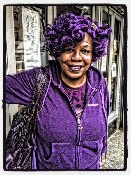 happy lady dressed in all purple AMPt - Street NEM Street WiAM Community IPhoneography