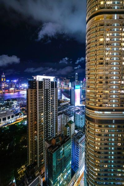 Nightscapes cityscapes Discoverhongkong Reframinghk Nightshooters Building Exterior Architecture Illuminated Built Structure Night City Office Building Exterior Building Skyscraper Cityscape Office Modern Tall - High Sky Tower No People Financial District  Nature Residential District Outdoors