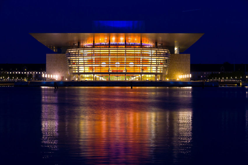 Copenhagen Opera House Architecture Building Exterior Built Structure City Cityscape Illuminated Long Exposure Modern Night No People Outdoors Reflection Sky Travel Destinations Water Waterfront
