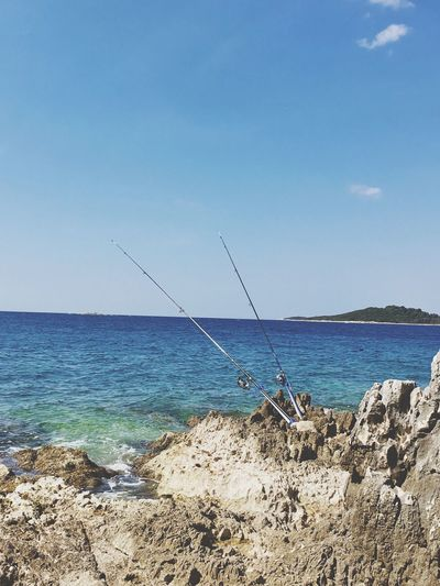 Sea Horizon Over Water Beauty In Nature Nature Scenics Water Tranquil Scene Sky Tranquility Day Outdoors Blue Clear Sky No People Fishing Pole Rockfishing Market