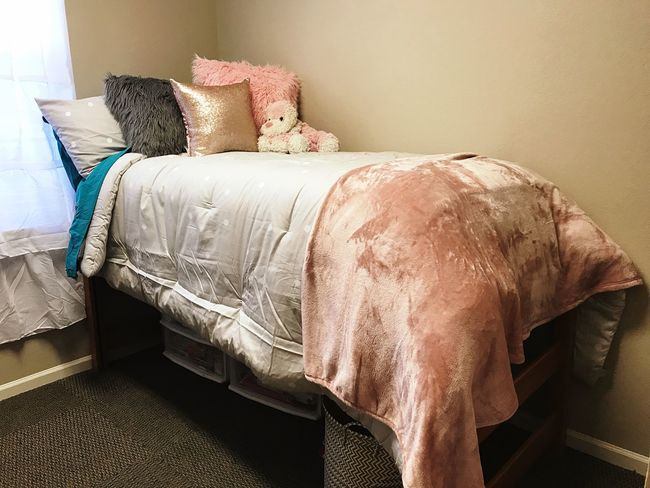 Girl's dorm room Fur Pillow Teddy Bear Rose Gold Pale Pink Pink Polka Dot Bedding EyeEm Selects Bed Bedroom Indoors  Pillow Home Interior Home Showcase Interior No People Sheet Day