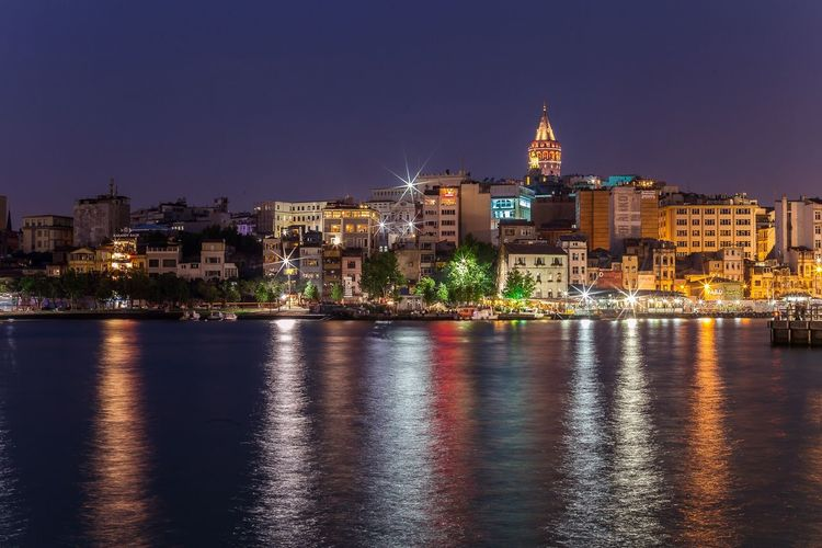 Istanbul during night... Istanbul Istanbul Turkey Turkey Water Water Reflections Sea Channel Illuminated Night Long Exposure Galata Tower GalataSaray Tower Iconic Cityscapes Cuty Copy Space No People Outdoors Urban Hill Buildings Nightphotography Colour Of Life Light And Shadow