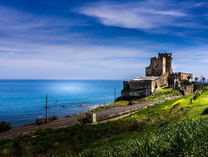 Far faraway Calabria (Italy) Italia Italy Calabria Green Color Sea And Sky Sea Landscape Sky Architecture Built Structure Building Exterior Water Sea Cloud - Sky Nature Building History The Past Horizon Over Water Horizon Castle Land