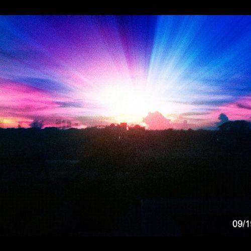Sun Sunset Sun_set Sunshine colorful beautiful bestoftheday rays uv photooftheday blue dark pink orange red purple cloudy cloud afternoon tree nice instagram instagood web weather myanmar mandalay