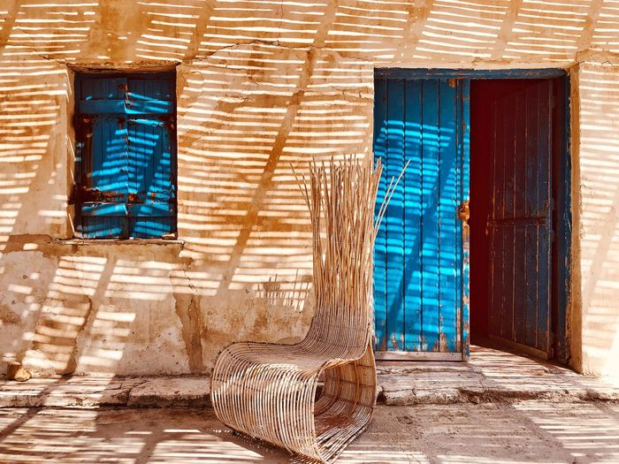 Greek Chair Blue House Nobody Greece Wooden Architecture Built Structure Building Exterior City Building Wall - Building Feature No People Day Sunlight Door