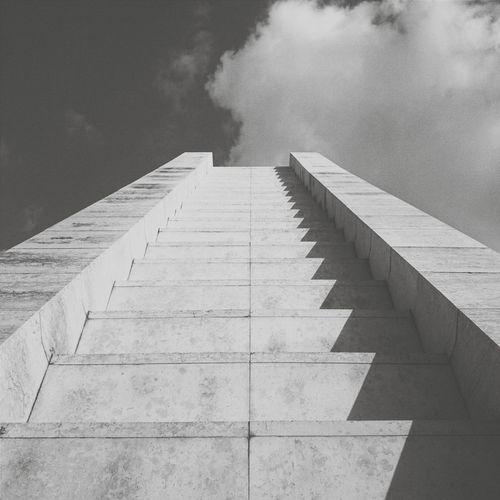 • stairway to ...• Minimalism Clouds And Sky EyeEm Best Shots Blackandwhite Black & White Stairs Bnw Eye4photography  AMPt Community Urban Geometry
