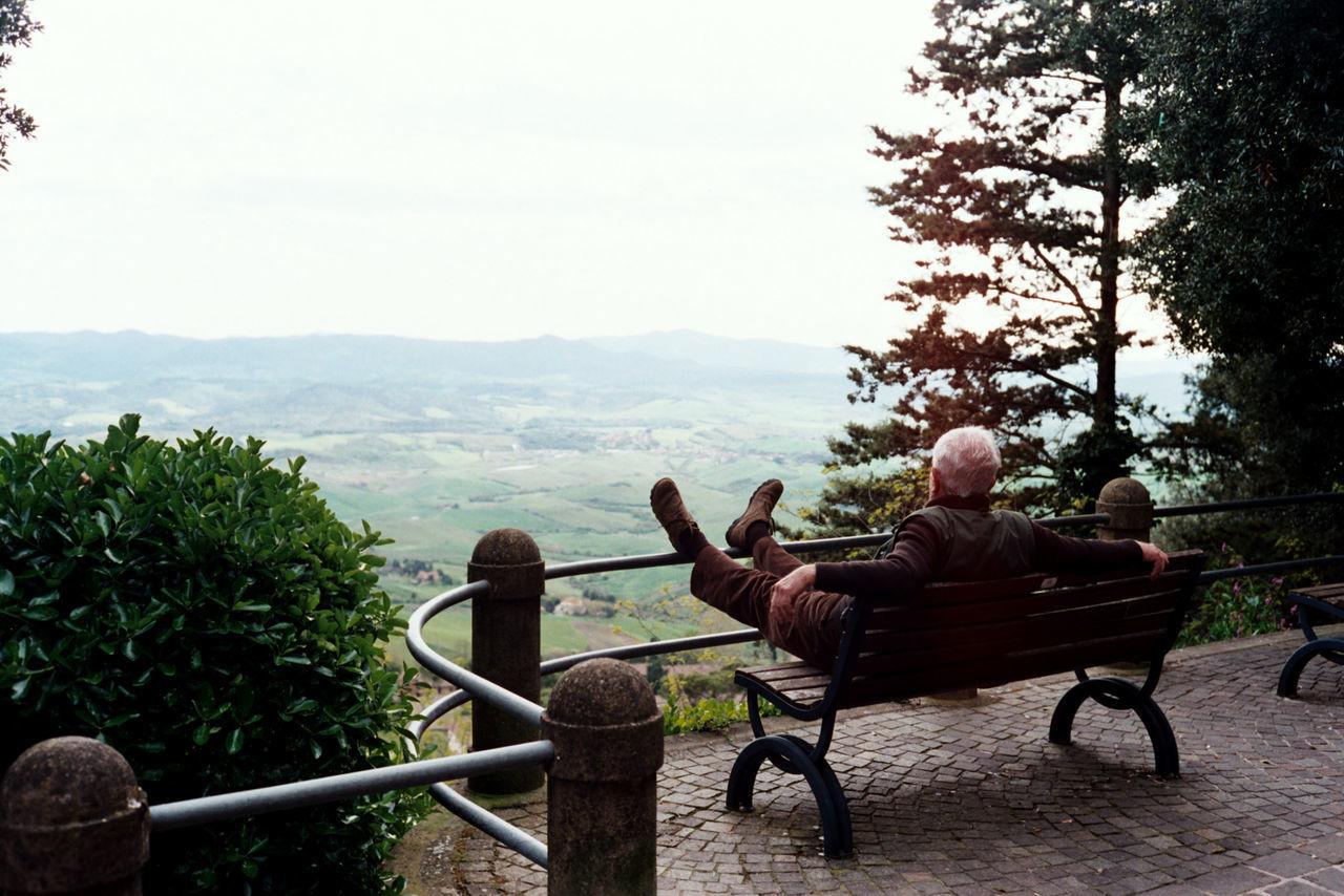 A tourist is enjoying panoramic view