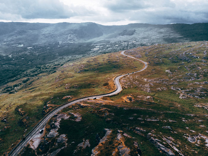 Scenics - Nature Beauty In Nature Environment Landscape Mountain Non-urban Scene Tranquil Scene Aerial View Cloud - Sky No People Road Day Nature Tranquility High Angle View Transportation Sky Mountain Range Mountain Road Outdoors Winding Road Road Scotland Highlands