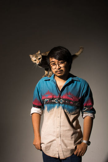 me and my cat Adult Adults Only Cat One Person Only Men People Pet Portrait Standing Studio Shot