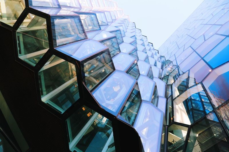 Theater Business Citylife Glass Colors Iceland Modern Architecture Low Angle View Built Structure Building Exterior No People Backgrounds Technology Skyscraper Futuristic Outdoors City Sky Day