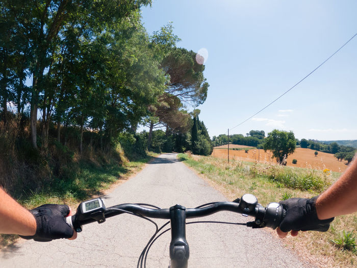Pov e bike view camera in countryside - cycle tourism concept