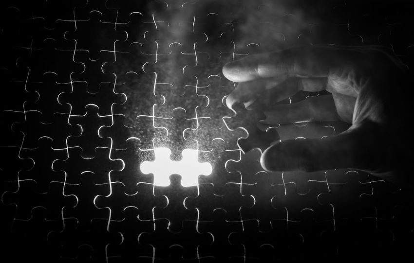 Knowing where you fit in is sometimes hard... Alone Filling The Gap Fingers Fit In Hand Indoors  Jigsaw  Knowing Under Lit
