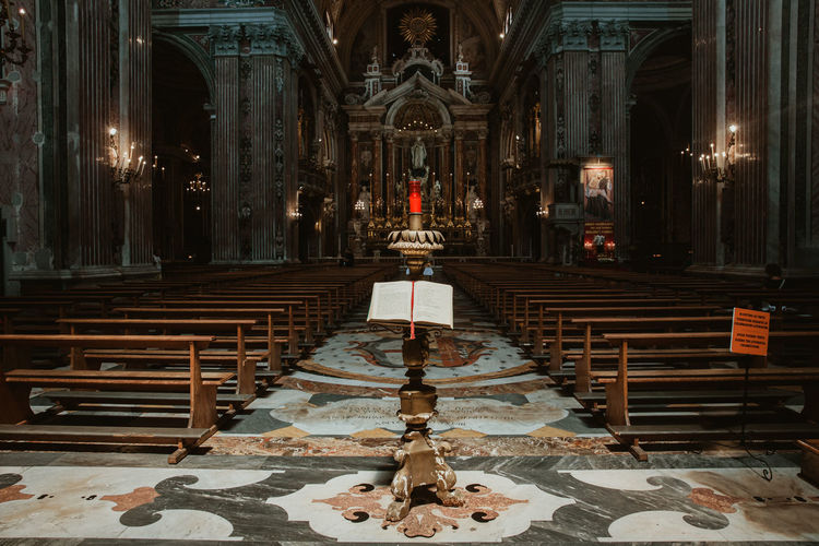 Interior of a Cathedral from Naples, Italy Naples Naples, Italy Cathedral Religion Architecture Place Of Worship Built Structure Spirituality Belief Building Indoors  Altar Illuminated Architectural Column Pew Candle Cross No People