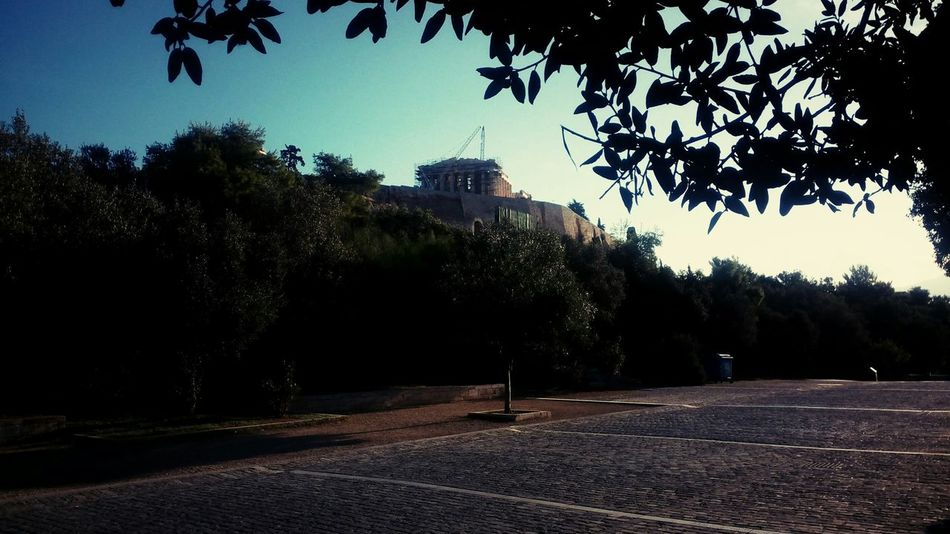 The Parthenon Acropolis Olive Tree Stone Masonry Morning First Sunbeams Point Of Interest Landmark Light And Shadow Dionisiou Ariopagitou Athens Greece Hellas